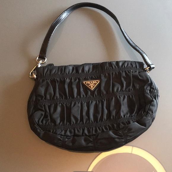 4995cd27e2e7 ... authentic prada ruched tessuto nylon small pochette bag 4ce65 998e8